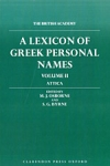 (H/B) A LEXICON OF GREEK PERSONAL NAMES (VOLUME II)