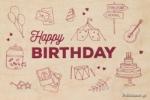 ΞΥΛΙΝΗ ΕΥΧΕΤΗΡΙΑ ΚΑΡΤΑ - HAPPY BIRTHDAY