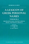 (H/B) A LEXICON OF GREEK PERSONAL NAMES (VOLUME III.A)