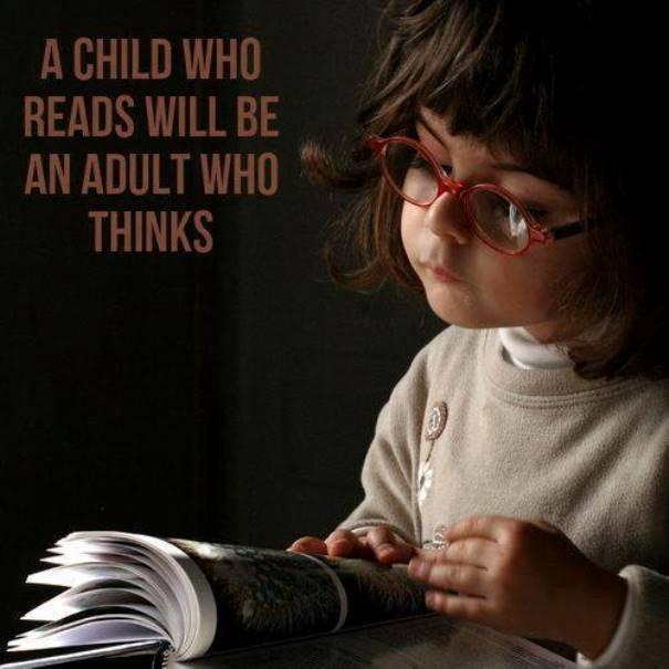 child reads